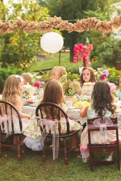 """There's something especially whimsical about throwing a Secret Garden-themed tea party for your kids, and Marci Cochran went above and beyond when it came to party photoshoot This Secret Garden-Themed Soiree Gives """"Ladies Who Lunch"""" a Whole New Meaning Outdoor Tea Parties, Fairy Tea Parties, Girls Tea Party, Princess Tea Party, Outdoor Birthday, Fairy Birthday Party, Garden Birthday, Party Garden, Third Birthday"""