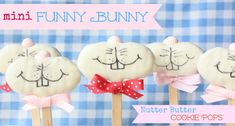 Mini Funny Bunny Nutter Butter Cookie Pops by Munchkin Munchies | Skip To My Lou