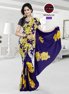 Beautiful Yellow Blue Print Saree with White Dotted Blouse