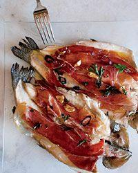 Pan-Seared Trout with Serrano Ham and Chile-Garlic Oil - Forget Serrano and use La Quercia Prosciutto or Speck! Or even our pancetta!!