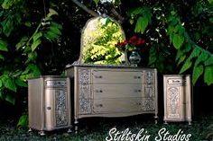 Modern Masters Warm Silver Metallic Paint on Bedroom Furniture Set Silver Metallic Paint, Metallic Painted Furniture, Silver Furniture, Metal Furniture, Repurposed Furniture, Shabby Chic Furniture, Furniture Projects, Furniture Makeover, Diy Furniture