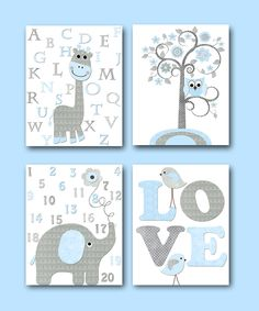 Blue Grey Elephant Decor Giraffe Decor for Nursery Canvas Giraffe Alaphabet Elephant Numbers Baby Boy Wall Decor Baby Room Decor set of 4 by artbynataera on Etsy