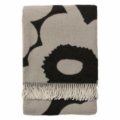 Marimekko Unikko Black and Tan Wool Throw - modern - throws - Crate Black Sand, Black And Grey, Black Blanket, Unique Housewarming Gifts, Marimekko, Crate And Barrel, Crates, Throw Pillows, Finland