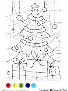 ausmalbild malen nach zahlen: weihnachtsbaum ausmalen kostenlos ausdrucken | malen nach zahlen