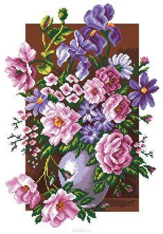 Flower Painting Canvas, Flower Canvas, Canvas Designs, Canvas Patterns, Cross Stitch Flowers, Cross Stitch Patterns, Floral Embroidery, Hand Embroidery, Bargello