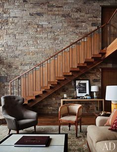 Stone wall & wooden stairs in a mountain #living room #rustic #decor