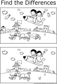 A number of differences can be found between the two pictures of children flying on a pencil. Coloring Pages For Boys, Coloring Books, Preschool Worksheets, Preschool Activities, Kids Education, Special Education, Hidden Pictures, Picture Puzzles, Kindergarten
