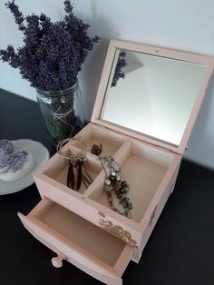 Romantic jewellery box with mirror💙 Wooden Jewelry Boxes, Jewellery Box, Peach, Gift Wrapping, Lovers, Romantic, Group, Mirror, Business
