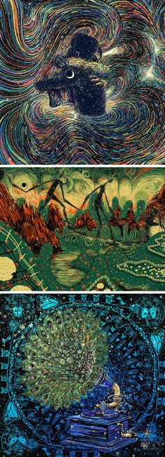 New Swirling Psychedelic Illustrations by James R. Eads