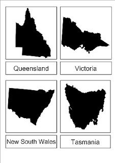 Australian States:  Free download, three part cards