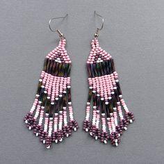 Long Seed Bead Earrings  pale pink / purple / by Anabel27shop, $15.00