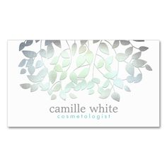 Cosmetology Faux Blue Green Foil Leaves White Double-Sided Standard Business Cards (Pack Of 100). I love this design! It is available for customization or ready to buy as is. All you need is to add your business info to this template then place the order. It will ship within 24 hours. Just click the image to make your own!