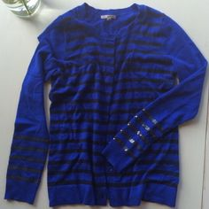 GAP cobalt blue striped wool sweater cardigan Cobalt blue with black stripes and cute sequin details on sleeves. Gently used. Great condition. Very nice and warm. GAP Sweaters Cardigans