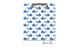 Preppy Monogrammed Personalized Clipboard with Whales.