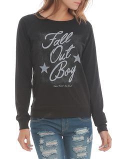 Black long-sleeved top with Fall Out Boy stars logo. YAAAAASSSSS. @Darnmand