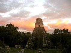 Tikal, Guatemala: Sunset, temple, a toast to the sun gods.