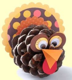 Pinecone Turkey Craft: fun for the cousins to work on for our Thanksgiving table! They're all so close in age this year yrs) so should be interesting. Pinecone Turkey, Pinecone Crafts Kids, Pine Cone Crafts, Bird Crafts, Fall Crafts, Halloween Crafts, Holiday Crafts, Home Crafts, Crafts For Kids