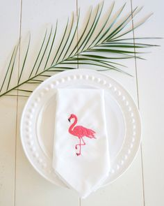Flamingos Embroidered Dinner Napkins, table linens, wedding napkins, hostess gift, entertaining - FIND MORE HOME & BRIDAL LINENS BY CLICKING THE PHOTO ABOVE!