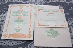 Letterpress Wedding Invitation  No 14  Sample by SmallPrinter, $8.00