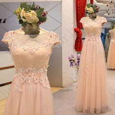 Lace Long Prom GownRound Collar With Short Sleeves by Brideprom, £108.00