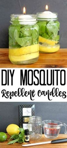 Make your own DIY mosquito repellent candles with a few simple ingredients and some mason jars! Make your own DIY mosquito repellent candles with a few simple ingredients and some mason jars! Pot Mason, Mason Jar Crafts, Mason Jar Diy, Diy Mosquito Repellent, Insect Repellent, Bug Repellent Candles, Mosquito Spray, Country Chic Cottage, Diy Candles