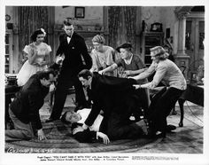 1938: Jean Arthur, James Stewart, Spring Byington, Edward Arnold, Mischa Auer, Mary Forbes, Ann Miller, and Dub Taylor in You Can't Take It with You (1938)