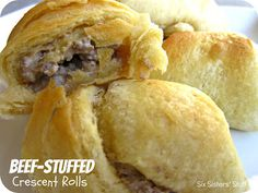 Beef-Stuffed Crescent Rolls- ready in 30 minutes and kids love them! SixSistersStuff.com #recipe #beef #dinner