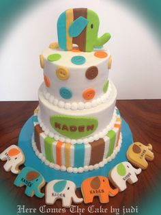 Green, Brown, Turquoise, Orange and Yellow Dots & Stripes Elephant Baby Shower Cake & Cookies (Kaden)