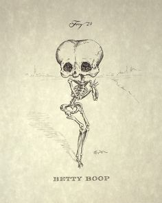 One of animation's sexiest characters, reworked as a skeleton! Betty Boop Skeleton Print 8x10 by mpaulus on Etsy, $18.00