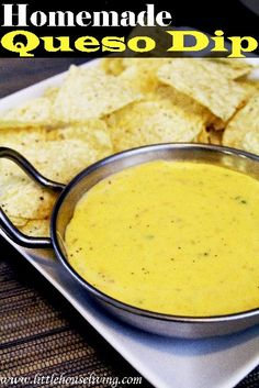 Do you love queso and chips? Enjoy them guilt-free with this Homemade Queso Dip made from scratch with fresh ingredients and no processed products! Dip Recipes, Mexican Food Recipes, Appetizer Recipes, Real Food Recipes, Appetizers, Cooking Recipes, Yummy Food, Mexican Dishes, Copycat Recipes