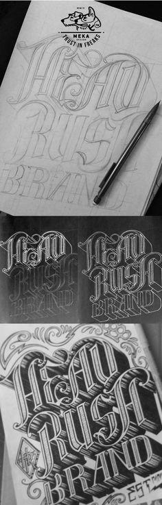 HEADRUSH tee shirt DESIGN by MEKA , via Behance good design contemporary typography text font fashion art modern