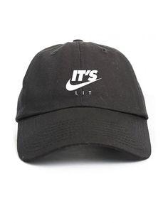 It s Lit Swoosh Black Unstructured Dad Hat - C412NYNJS58. Cool HatsBaseball  ... d195953a033d
