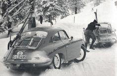 Little Known Facts. Vintage Porsche, Vintage Cars, Antique Cars, Porsche 356a, Porsche Cars, Porsche Factory, Vintage Ski Posters, Vintage Winter, Porsche Design