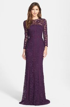Plum lace gown by Monique Lhuillier