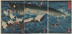 Kuniyoshi: The Former Emperor [Sutoku] from Sanuki Sends His Retainers to Rescue Tametomo (Sanuki no in kenzoku o shite Tametomo o sukuu zu)