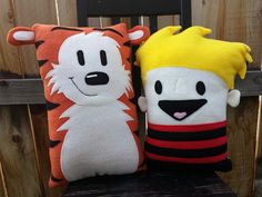 Calvin and Hobbes pillow plush cushion gift by telahmarie on Etsy
