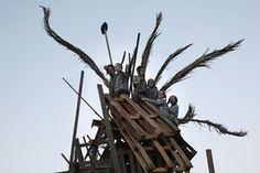 Ultra-Orthodox Jewish children prepare a giant bonfire in the neighborhood of Mea Shearim during the celebration of Lag BaOmer