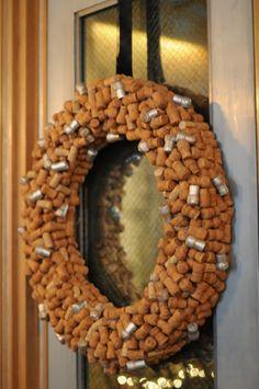 festive champagne cork wreath