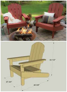 These Adirondack chair plans will help you build an outdoor furniture set that becomes the centerpiece of your backyard . It's a good thing that so many plastic patio chairs are designed to stack, and the aluminum ones fold up flat. Adirondack Furniture, Outdoor Furniture Plans, Rustic Furniture, Diy Furniture, Adirondack Chairs, Adirondack Chair Plans Free, Furniture Design, Furniture Removal, Furniture Storage