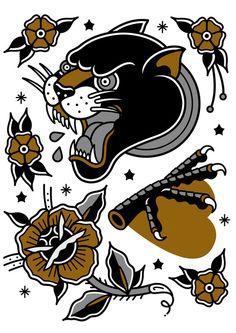 tattoo set 2 Art Print by DerickJames - X-Small Traditional Tattoo Sketches, Traditional Black Tattoo, Traditional Tattoo Old School, Traditional Tattoo Design, Tattoo Flash Sheet, Tattoo Flash Art, Pantera Old School, Neo Traditional Roses, American Traditional
