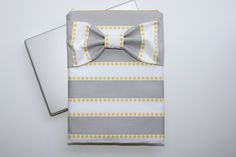 MacBook Pro or Air, Laptop Case - Gray Stripes, Mustard Dot and Bow by AlmquistDesignStudio on Etsy