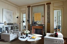 Living room of the Paris apartment of Sylvie de Chirée and Philippe Rapin