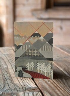 Mountain Pattern  greeting card landscape by saracannonart on Etsy