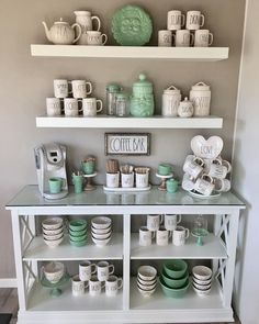 This was a challenge for me! You all know how I feel about neutrals and pops of color I'll probably play around with it a bit more before… Coffee Bar Home, Coffee Corner, Coffe Bar, Mint Coffee, Farmhouse Style Kitchen, Farmhouse Decor, Farmhouse Ideas, Ray Dunn, Bar Drinks