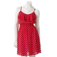ELLE Polka-Dot Ruffle Dress