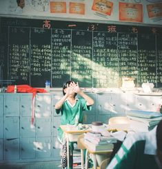 © This is a typical classroom of a Chinese high-school, or Gaozhong (高中). It is a place accounting for arguably the most stressful period of a Chinese student's career as they prepare for.