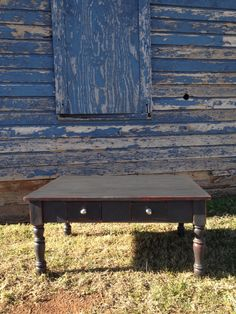 Coffee table done in American Paint Company Gun Powder over red. #theoldstore #americanpaintcompany