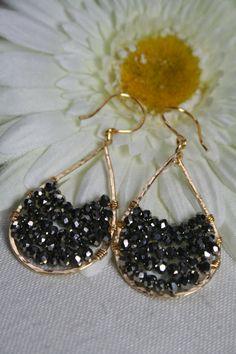Pewter Gold Tear Drop Beaded Earring Hoop by createdbycarla on http://www.etsy.com/shop/createdbycarla