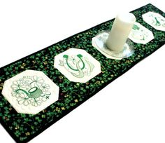 St Patricks Day Quilted Table Runner  MADE TO by QuiltSewPieceful