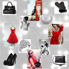 """""""Black Leather & Red Accents in Classic Black & White"""" by lisbethusala on Polyvore"""
